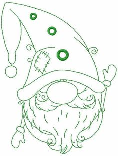 Green Christmas dwarf free embroidery design - X MALEN - Macrame Machine Embroidery Projects, Free Machine Embroidery Designs, Embroidery Patterns, Green Christmas, Christmas Crafts, Christmas Design, Rustic Christmas, Xmas, Christmas Ornaments