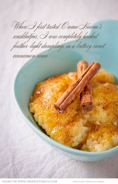 Souskluitjies: Traditional South African dessert dumplings with a sugary cinnamon butter sauce (from The Food Box) Makes me miss my OUMA South African Desserts, South African Dishes, South African Recipes, South African Dumpling Recipe, Kos, Wine Recipes, Baking Recipes, Dessert Recipes, Dessert Ideas