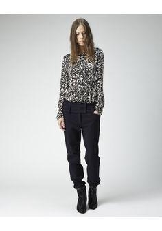 Larisse Pants by Isabel Marant.  Wool pant with dropped, double waistband detail & 4-pocket styling. Worn with / Isabel Marant Moriah Long Sleeve Shirt & Isabel Marant Sade Pony Wedge.