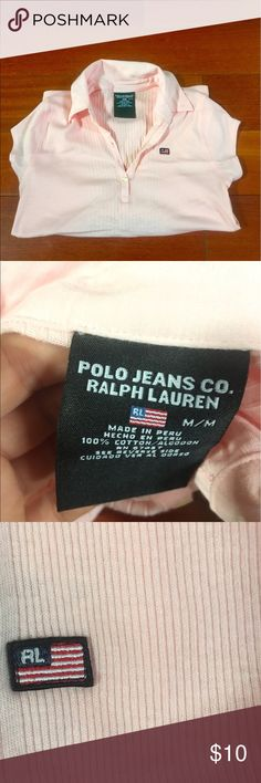Pink Polo Lightly worn pale pink polo with white buttons Polo by Ralph Lauren Tops Button Down Shirts
