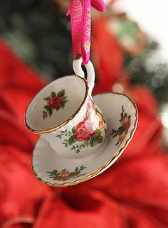 Royal Albert Old Country Roses Teacup and Saucer Ornament - Would love this for my Christmas tree!