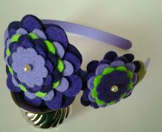 Purples and neon green  felt flower headband by LovelyFelt72, $11.50