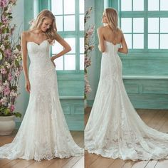 Simple Lace Wedding Dresses Strapless Sweetheart Sheath Column Formal Custom - Simple Lace Wedding D Lace Bridal, Strapless Lace Wedding Dress, Simple Lace Wedding Dress, Sweetheart Wedding Dress, Country Wedding Dresses, Wedding Dress Trends, Perfect Wedding Dress, Wedding Dress Styles, Bridal Gowns