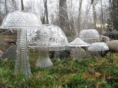 DIY:  Make garden mushrooms from old florist vases and bowls!