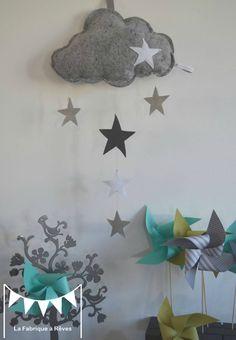 mobile enfant bébé fille garçon nuage coeur gris foncé gris clair blanc - décoration chambre enfant garçon fille bébé gris blanc