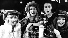Elizabeth Knight, Joanna Lumley, Jennifer Croxton and Jane Carr in It's Awfully Bad for Your Eyes, Darling. BBC Television, 1971.