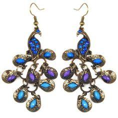 a7c0668c58a734 Lady Vintage Retro Blue Rhinestone Crystal Dangle Prancing Peacock Hook  Earrings World Pride, http: