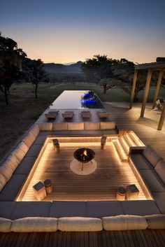 Private Bush Home – Waterberg, South Africa — Fox Browne Creative Outdoor Fireplace Designs, Fireplace Ideas, Modern Outdoor Fireplace, Modern Patio, Backyard Patio Designs, Backyard Landscaping, My Patio Design, Roof Terrace Design, Modern Garden Design