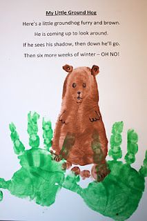Poem with hand print and footprint for Ground Hog's Day