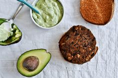 black bean burgers with avocado basil spread