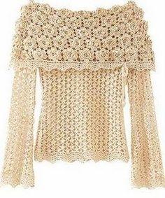 ~ Crochet Style ~: ~ Blusa con rosas~ Actualizada re actualizada :D