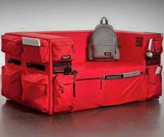 Backpack Couch  -  Decorate your dorm with your most essential college tool – the backpack couch is literally a couch made of backpacks. Featuring an endless amount of zippered storage compartments for your gaming and drug paraphernalia books and school supplies, it's perfect for any dorm room.