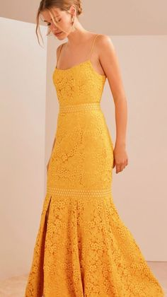 Golden ~ the Utopia Lace Gown in golden yellow ; Evening Dresses, Prom Dresses, Formal Dresses, Pretty Outfits, Pretty Dresses, Dress Skirt, Dress Up, Lace Dress, Yellow Gown