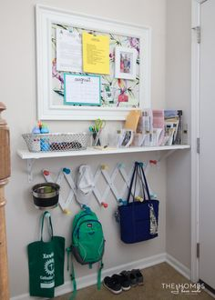 Create a Simple Command Center for Any Space Command center with a shelf for extra storage. Via The Homes I Have Made.Command center with a shelf for extra storage. Via The Homes I Have Made. Parent Command Center, Command Center Kitchen, Command Centers, Home Organisation, Organization Hacks, Kitchen Organization, Organizing Ideas, Kids School Organization, Family Organization Wall