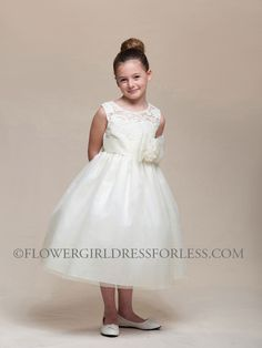 CK_968IV - Girls Dress Style 968- Sleeveless Illusion Lace and Tulle Dress - Lace Dresses - Flower Girl Dress For Less