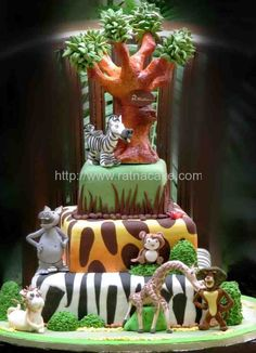 awesome cake idea for a madagascar theme, but it's just too much for out party. lol