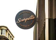 Design agency I-AM worked with Italian restaurant Scarpetta to develop the branding & interior concept design, creating an industrial, yet rustic space. Storefront Signage, Restaurant Signage, Store Signage, Wayfinding Signage, Signage Design, Restaurant Design, Web Design, Design Blog, Design Ideas