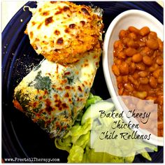 Baked Cheesy Chicken Chile Rellenos - A Thrifty Table Chicken Chile, Cheesy Chicken, Entree Recipes, Mexican Food Recipes, Ethnic Recipes, Dinner Recipes, Freezable Meals, Ground Meat Recipes, Cold Meals