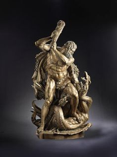 Large bronze group, possibly German, of Hercules and the Hydra