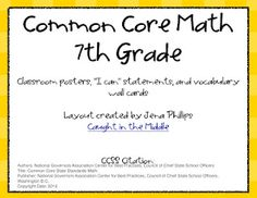 Common Core 7th grade math posters. This whole blog is awesome for middle school grades!!!!!