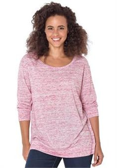 Plus Size Marled knit T-shirt  with long sleeves