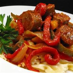 Crock Pot Sausage, Peppers and Onion with pasta - a great way to serve Creswick Farms Italian Sausages, hot and sweet!