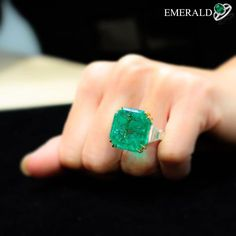 Charming emerald ring for you to look stylish. Emerald Jewelry, Diamond Jewelry, Diamond Earrings, Silver Jewelry, Stud Earrings, Modern Jewelry, Fine Jewelry, Jewellery, Faberge Eier