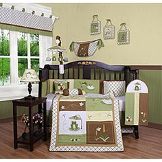 Dress up and decorate your baby's room with this beautiful 13-piece crib bedding set. This set includes a quilt, two valances, skirt, crib sheet, bumper, diaper stacker, toy bag, two pillows and three wall hangings.