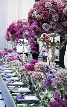 Fabulous tablescape embodying the colour of the year - Radiant Orchid 2014