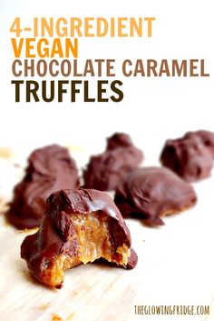 These Vegan Chocolate Caramel Truffles have only 4 ingredients and are so addicting.