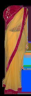 WDSTS111 YELLOW SAREE  FRONT VIEW