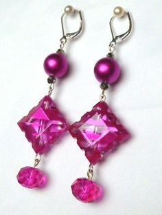 Magenta Ornament Earrings by Margica on Etsy, $26.00