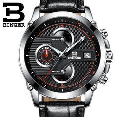 44.80$  Buy now - http://ali1ck.shopchina.info/go.php?t=32772837914 - Switzerland Men's watch luxury BINGER brand quartz Big Dial Designer Chronograph clock Water Resistant Wristwatches B-9018-6  #aliexpresschina