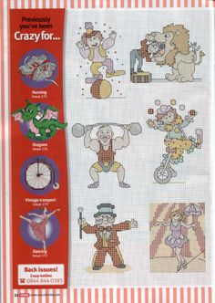 Circus motifs part 1 free cross stitch patterns