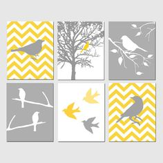 Modern Bird Art - Set of Six 11x14 Prints - Chevron, Birds, Tree, Nature - Choose Your Colors - Shown in Yellow, Gray, and White. $145.00, via Etsy.