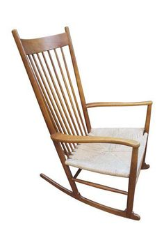 Hans Wegner J16 Rocking Chair, Stamped Denmark On Chairish.com