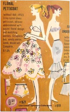 vintage ad for barbie petticoats and underwear.. my barbies never had those!