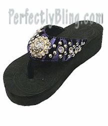 Rhinestone Western Style Flip Flop Zebra Stripe | Concho (Black / Purple) Montana West $29.99