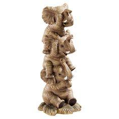 Дизайн Тоскано Слушайте, нет, см-нет, говорят, никакого зла Слоны в природных - Коллекционные Фигурки качества дизайнера смолы Ручной росписью Дизайн Тоскано эксклюзивный Стволы высоко поднятые на удачу Скульптура меры 4 дюймов ширина 10 дюймов высотой по глубине 4 дюймов