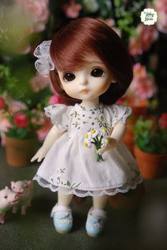 Lati Yellow/ Puki Fee - White Dress with lovely flowers