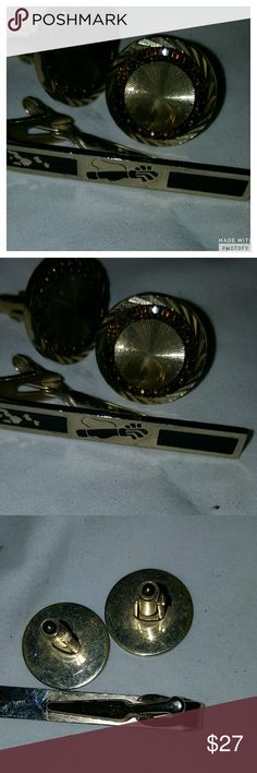 Fab Vtg tie clip and cufflinks The tie clip mughr be Swank, I can't see what it says and cufflinks are unmarked but they are wonderful with all the little gem stones intact. Some overall fading of gold but in very good vintage condition. Reasonable offers. Vintage Accessories Jewelry