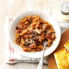 "One-Pot Saucy Beef Rotini Recipe -My husband loves pasta; I cringe over the messy dishes. On ""Spaghetti Day,"" as he calls it, I make a one-pot saucy rotini that keeps everyone happy. —Lorraine Caland, Shuniah, Ontario"
