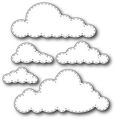 Memory Box Stitched Clouds Die. 100% steel craft die from Memory Box. For use on cardstock, felt, and fabric. Cut, stencil, emboss, create. Use in most leading