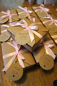 """Packaging for French Macarons. Box is perfect for 6 flat or 12 on side macarons. Back of tags """"Made with Macarons by Brandi Macaron Packaging, Macaron Boxes, Coffee Stock, Baptism Ideas, Christmas Treats, Dessert Table, Wedding Reception, Diy Projects, Pasta"""