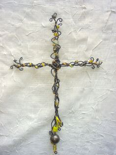 White & Clear Beaded Wire Cross Gifts under 30 by iheartBukasa Prayer Crafts, Wire Crosses, Beaded Cross, Christian Art, Barber, Faith, Chain, Beads, Unique Jewelry