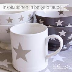 Geschirr Küche beige / taube Sterne - Mugs / Bowls Stars and more: www.kukuwaja.de