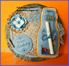 """Creative Expressions """"Message in a bottle"""", Crealies """"Double Stitch Circles"""", Cheery Lynn """"Nautical Wheeler"""""""
