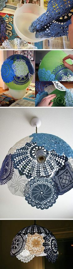 Interesting, cool lampshade idea. The idea could be adapted for different looks. @ Home Ideas and Designs Doily Lamp, Lace Lamp, Diy Lampshade, Crochet Lampshade, Make A Lamp, Lace Doilies, Crochet Doilies, Diy Crochet, Crochet Snowflakes