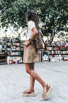 Le Fashion Blog Blogger Style Modern Boho Summer Look Ombre Hair White Ribbed Tee Woven Backpack Brown Suede Skirt Jewel Embellished Platform Sandals Via Collage Vintage