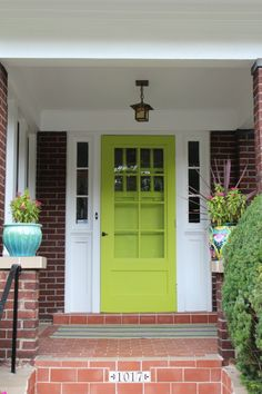 Bright & welcoming front door - Yay! love seeing other people out there with the same color front door!!